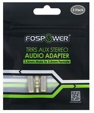 FosPower  TRRS AUX Stereo Audio Adapter-3.5mm Male to 3.5mm Female- 3 PACK