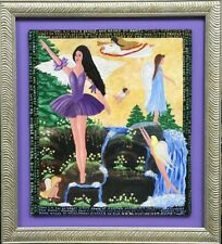 """Howard Finster's Daughter, Beverly's  """"Angels of Fantasy"""" Oil Painting"""