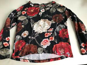 H&M Damen Sweatshirt Pullover schwarz mit roten & weißen Blumen Gr. XS #JEN