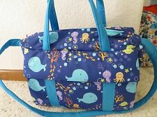 Whale Custom handmade EMIJANE Diaper Bag  with changing pad free embroidery