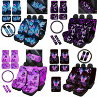 12/14Pc Car Seat Covers Butterfly Women Auto Decor Floor Mats Seat Belt Pads Set