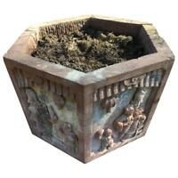 China Lovely Antique Hand-Carved Red Stone Garden Planter Basin, 19th Century