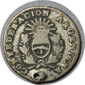 elf Argentina La Rioja Province 1/2 Real 1854 B   Silver