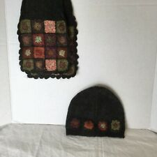 April Cornell Toque Hat & Scarf Olive Green Knitted Wool Blend - Set