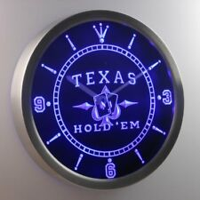 nc0458-b Texas Hold'em Poker Casino Neon Sign LED Clock