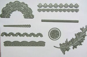 Tattered Lace-Metal Cutting Dies x 9 Mixed Floral-Card Making-Crafting