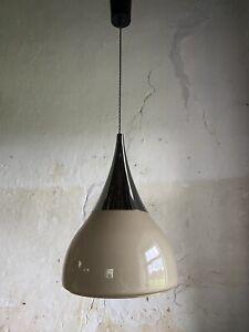 Mid Century Scandinavian Chrome & Glass Pendant Ceiling Light c1970 SPACE AGE