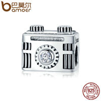 BAMOER Solid S925 Sterling silver Charm Camera memory With Crystal For bracelet
