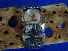 Pre-Owned Hopi Styled Sterling Silver Overlaid Watch Cuff Bracelet Quartz Watch