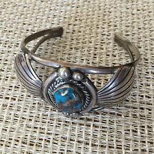 Vintage 1975 Handmade Signed Carson Blackgoat Sterling Silver Turquoise Bracelet