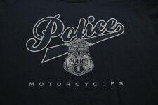 Harley Davidson Police Motorcycles T-Shirt L Blue Shirt