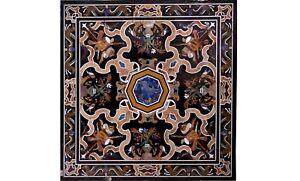 "42"" Marble Top Center Table Inlay Mosaic Pietra Dura Art Dining Room Decor B556A"
