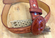 Mexico made Belt Western Crocodile Hornback Mahogany/Red Color Sz44