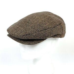 BRIXTON HOOLIGAN Driving SNAP Cap Newsboy Hat Brown SIZE S Small 7. (56CM)