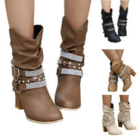 Womens Block Mid Calf Boots Ladies Flat PU Leather Slouch Low Heel Shoes Size US