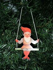 Scandinavian Swedish Christmas Elf Jul Tomte on Swing Ornament EL641