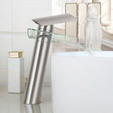Tempered Glass Waterfall Spout Bathroom Sink Basin Faucet Mixer Tap Brush Nickel