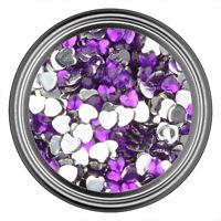 Dark Purple Heart Rhinestone Gems Flat Back Face Art Nail Art Jewels Decoration