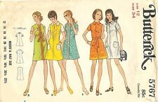 Vintage Butterick # 5767 Sewing Pattern Misses' One-Piece A-Line Dress Size 12