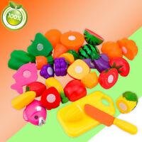 16x schneiden Obst Gemüse essen Rollenspiel Kinder Kind pädagogisches Spielzeug