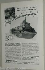 1935 French Line ad, Devonshire, Mont St Michel
