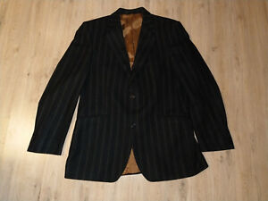 Sakko Anzugjacke Jacke Blazer dunkelbraun schwarz Commander Wolle 52 L