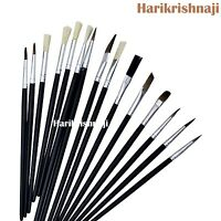 15 PIECE ARTIST BRUSH PAINTBRUSH SET FLAT & ROUND BRUSHES VARIOUS LENGTHS HOBBY