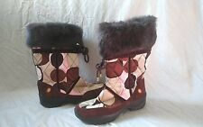 Coach Sasha Animal Fur Trim Quilted Winter Snow Boots Size 8.5 Logo Fabric