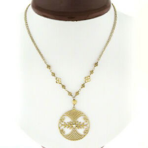 22k Gold Round Circle Pendant W/ Open Work Diamond On Multi-Cable Chain Necklace