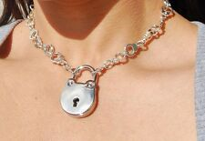 Silver Metal Handcuff Link Locking BDSM SLAVE BONDAGE  Day Collar