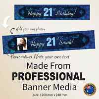 Custom Personalised  21st Happy Birthday Canvas Party Banner Decorations Peacock