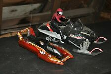Vintage Lot of 2 RC Vehicles Parts or Repair Remote Control Toy Boat Snowmobile