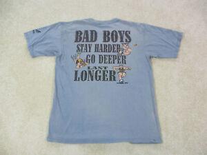VINTAGE Bad Boy Shirt Adult Large Gray Red Harder Deeper Longer Mens 90s *
