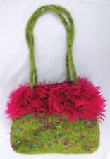 "Green Felted Wool Handbag w Confetti Accent & Pink Eyelash Fringe 8"" x 6"" x 3.5"""