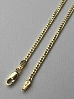 """Solid 14k Gold Miami Cuban Link Chain 2mm Necklace Great For Mens Pendant 16-24"""""""