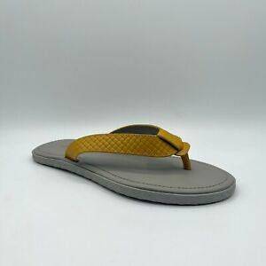 $480 Bottega Veneta Men's Yellow/Grey Leather Woven Thong Sandal 548251 7500