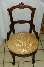 Walnut Carved John Jeliff Sidechair / Parlor Chair (Sc175)