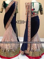 BEAUTIFUL DESIGNER PARTY WEAR BLUE COLOR HEAVY WORK SAREE