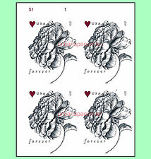 4959a Vintage Rose Forever Rate Imperf UL Plate Block of Four No Die Cuts