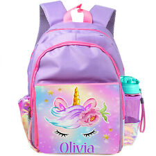 Personalised UNICORN School Bag Girls Backpack Childrens Kids Pink Unicorns KK47