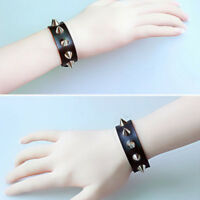 Stud Unisex Jewelry Leather Bracelet Bangle Wristband Spike Cuff Rivet Punk