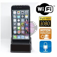 1080P WIFI IPhone Hidden SPY Camera Charging Station Dock DVR  Audio Pen Clock