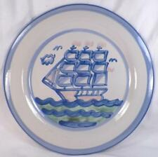 M A Hadley Ship & Whale Chop Plate Platter Stoneware 12.5in. Vintage Good Cond