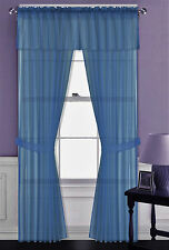"5PC SET VOILE SHEER PANELS STRAIGHT VALANCE WINDOW CURTAIN 100% MATCH IN 84"" L"