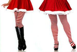 Leg Avenue Women 2 Plus Sz Red White Stripe Tights 1-2X 3-4X Queen Opaque 7100 Q