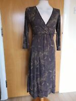 Ladies Dress Size 12 WHITE STUFF Stretch Jersey Brown Smart Casual Day