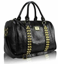 New Ladies Celebrity Leather Style Tote Satchel Barrel Bag Women Studded Handbag