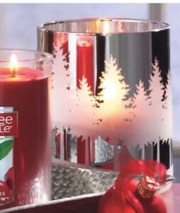 YANKEE CANDLE SHINY SILVER WINTERSCAPE GLASS JAR CANDLE HOLDER RETIRED HOLIDAY