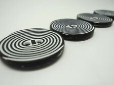 3pcs UNUSUAL LARGE BLACK & WHITE CIRCLES SPIRAL PLASTIC BUTTONS 28mm-B945 JACKET