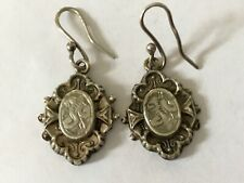Antique Victorian 1890's silver finely engraved dangly drop hook earrings 11/16""